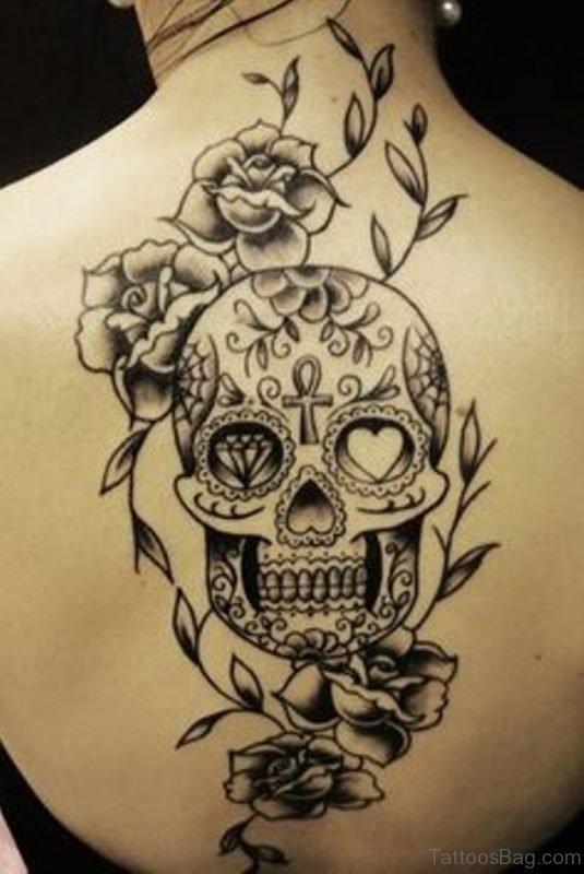 Sugar Skull With Roses Tattoo On Upper Back
