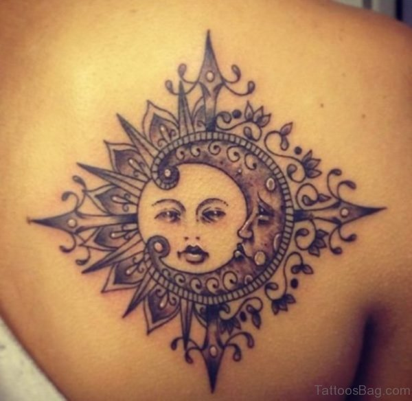 Sun And Moon Tattoo On Back