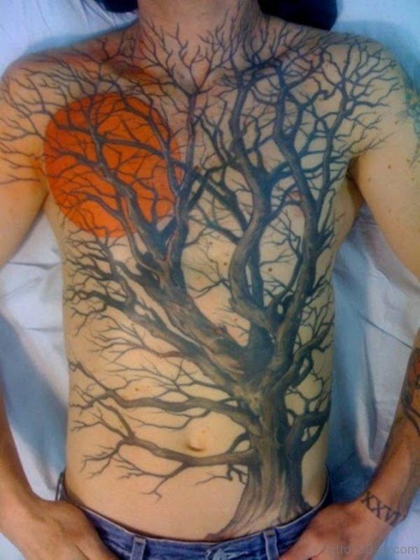 Sun And Tree Tattoo