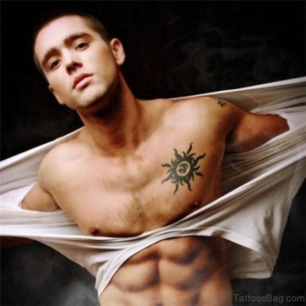 Sun Tattoo On Chest