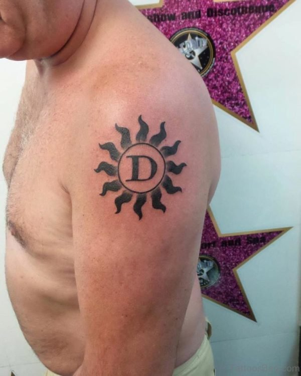 Sun Tattoo On Shoulder