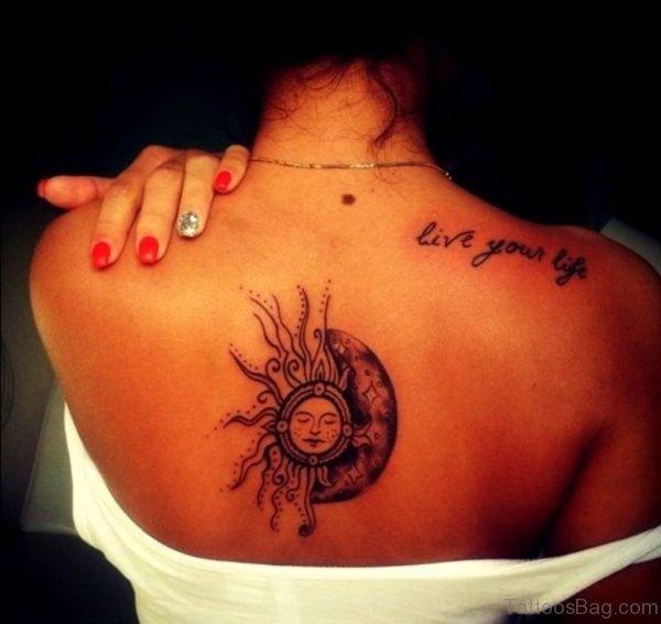 Sun Tattoo On Upper Back