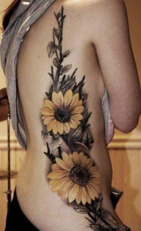 Sunflower Tattoo Design On Rib