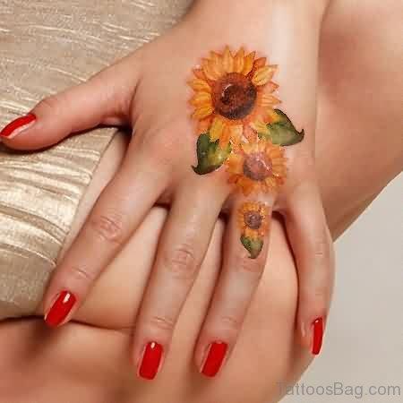 Sunflower Tattoo On Finger