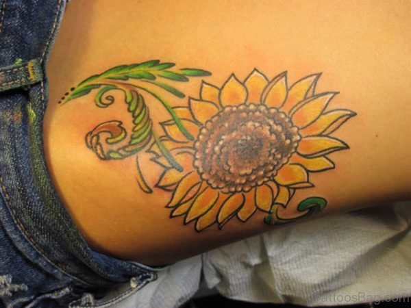 Sunflower Tattoo On Lower Back