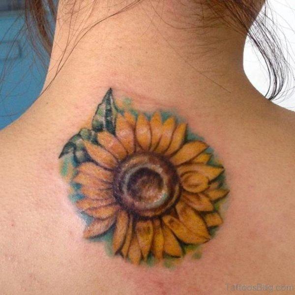 Sunflower Tattoo On Nape