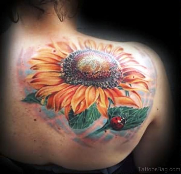 Sunflower With Ladybug Tattoo On Shoulder