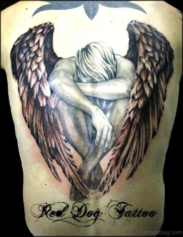 Superb Archangel Tattoo On Back