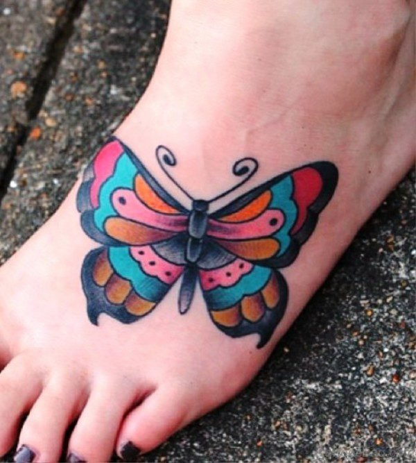 Superb Butterfly Tattoo On Foot
