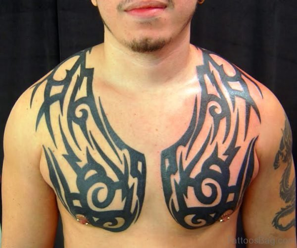 Superb Tribal Tattoo On Chest