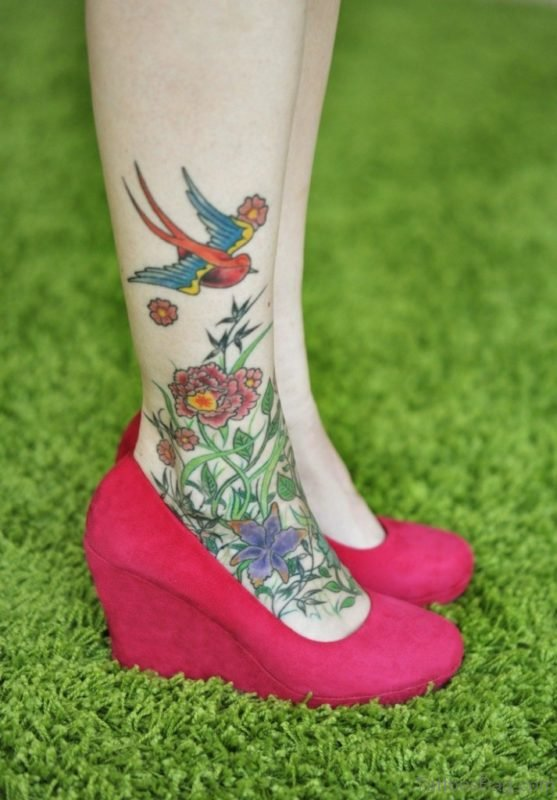 Swallow Tattoo Design On Ankle