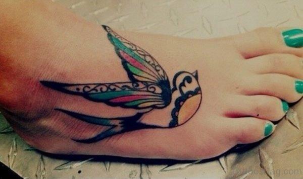 Swallow Tattoo On Foot
