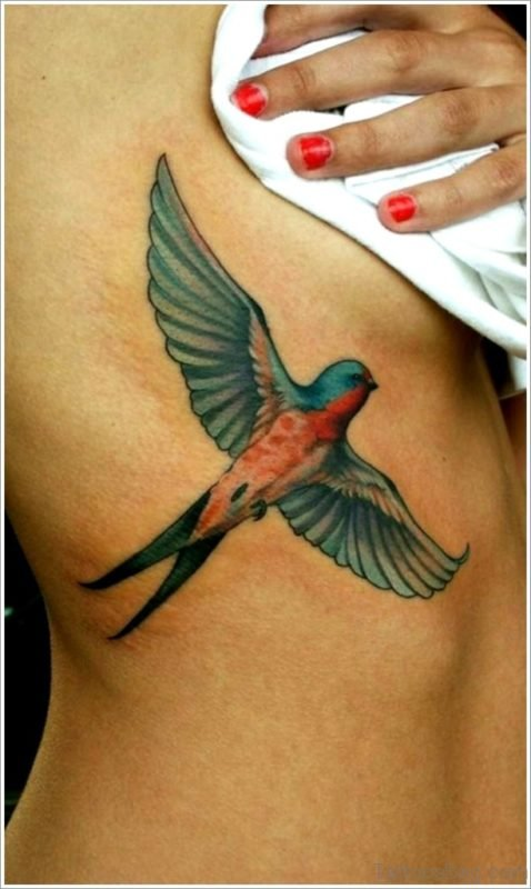 Swallow Tattoo On Rib