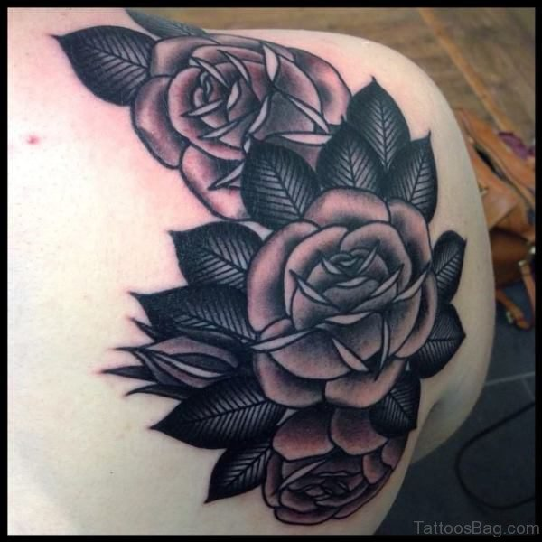 Sweet Black And Grey Flower Tattoo