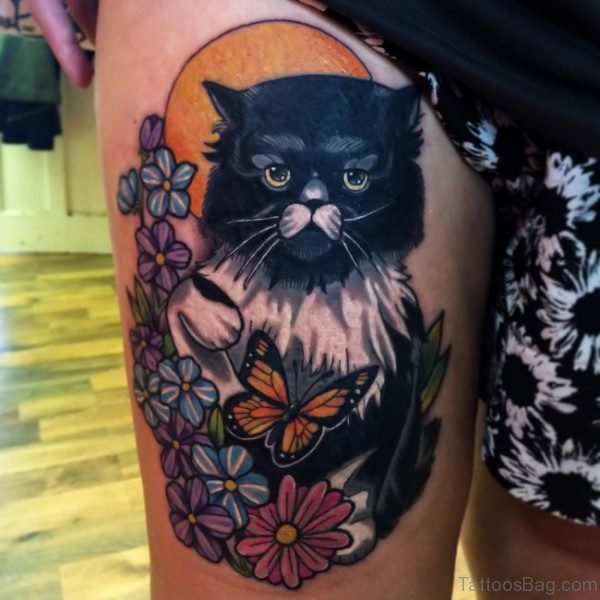 Sweet Black Cat Tattoo on Thigh