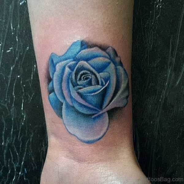 Sweet Blue Rose Tattoo On Wrist