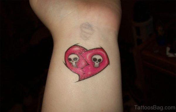 Sweet Broken Heart Tattoo On Wrist
