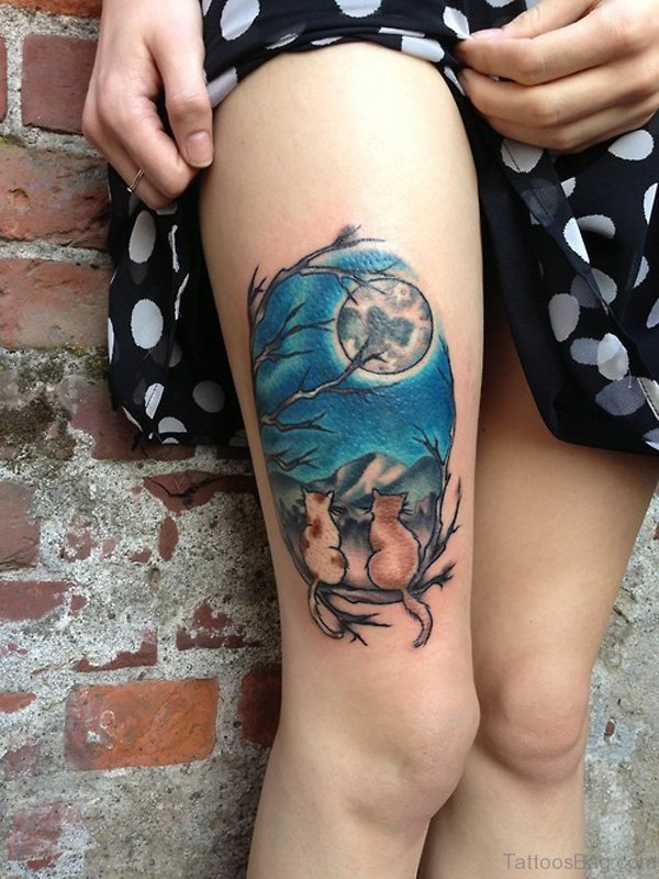 Sweet Cat Tattoo On Thigh