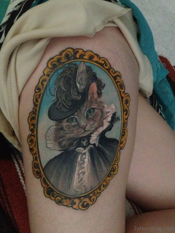 Sweet Cat Thigh Tattoo
