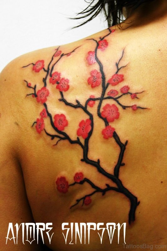 Sweet Cherry Blossom Tattoo On Shoulder