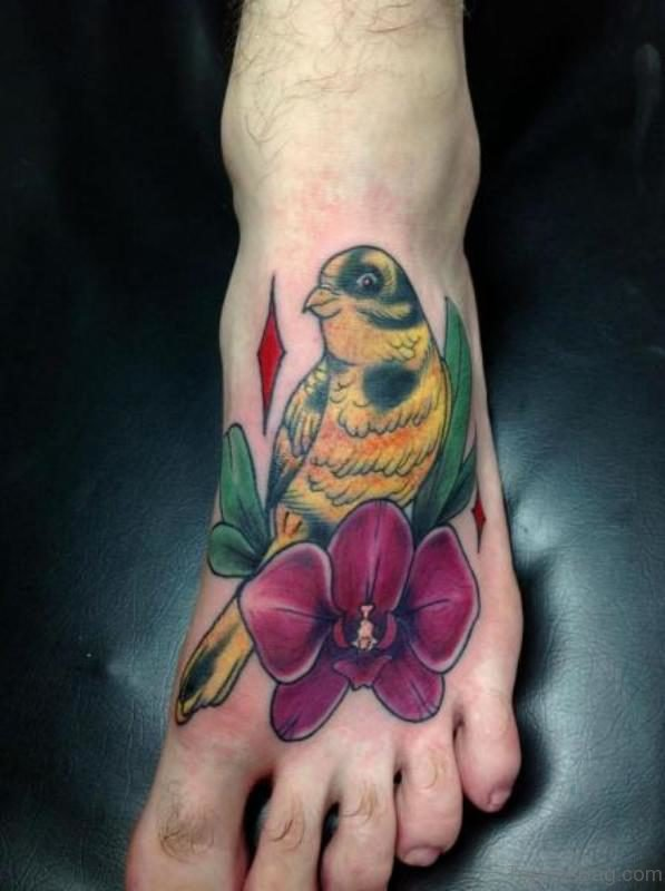 Sweet Colored Bird Tattoo On Foot