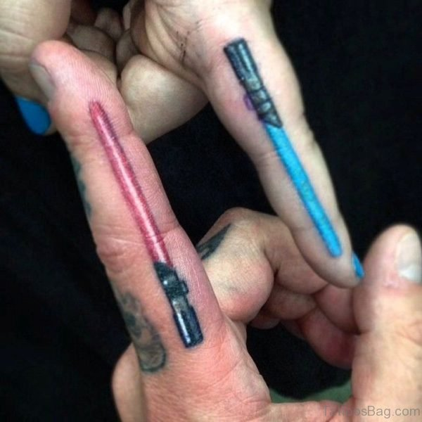 Sweet Colorful Sword Tattoo On Fingers