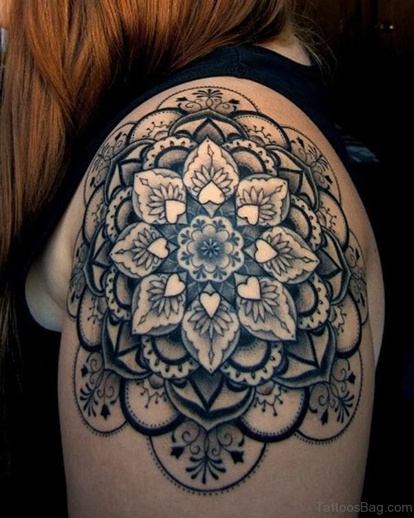 Sweet DesignerBalck And Grey Shoulder Tattoo