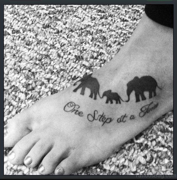 Sweet Elephant Family Tattoo On Foot