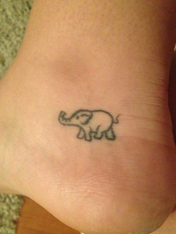Sweet Elephant Tattoo On Ankle