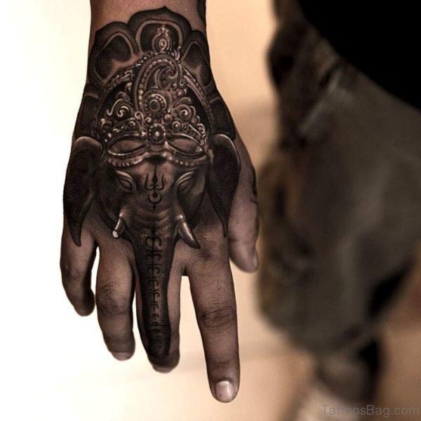 Sweet Elephant Tattoo On Hand 1