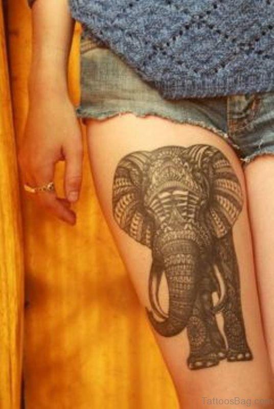 Sweet Elephant Tattoo On Thigh