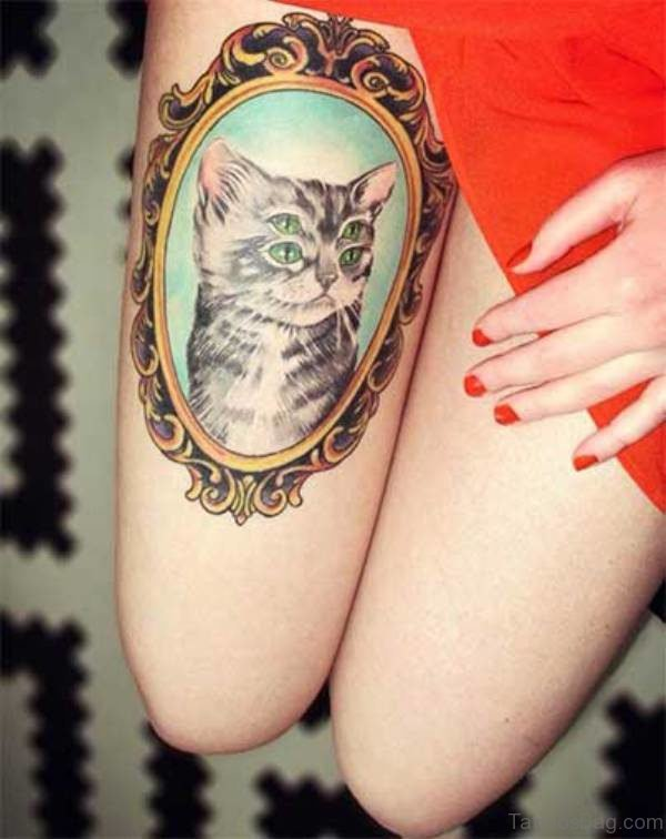 Sweet Grey Cat Tattoo On THigh