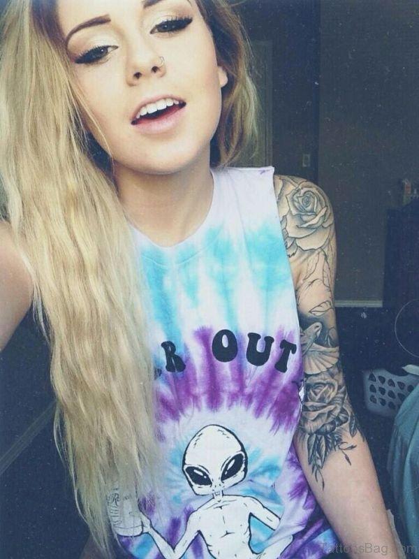Sweet Grey Shoulder Tattoo