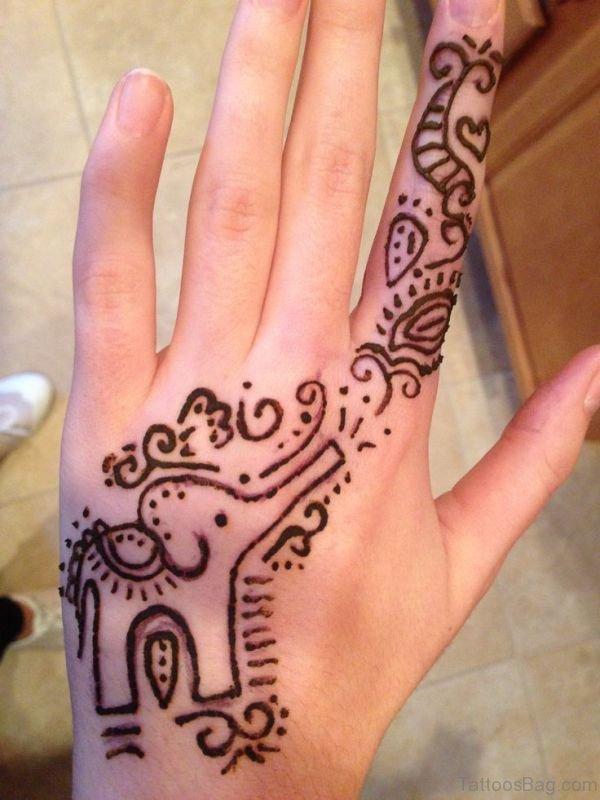 Sweet Henna Tattoo On Hand 1