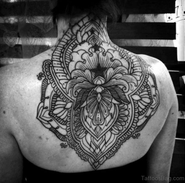 Sweet Large Mandala Tattoo On Neck Back