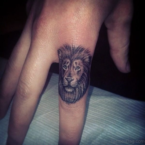 Sweet Lion Head Tattoo On Fingerf