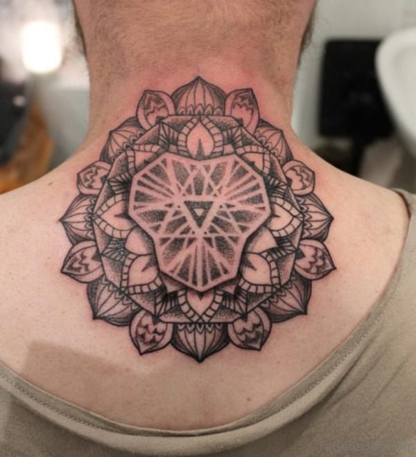 Sweet Mandala Flower Tattoo On Neck