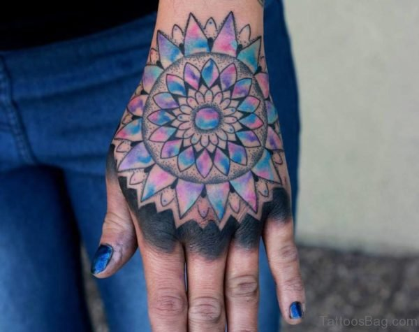 Sweet Mandala Tattoo On Hand