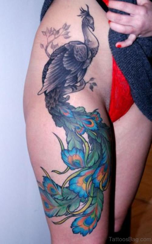 Sweet Peacock Tattoo On Thigh