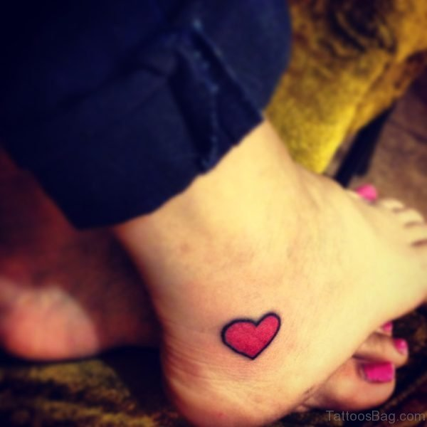 Sweet Red Heart Tattoo On Ankle