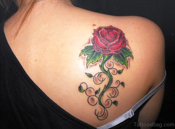 Sweet Rose Tattoo On Back Shoulder