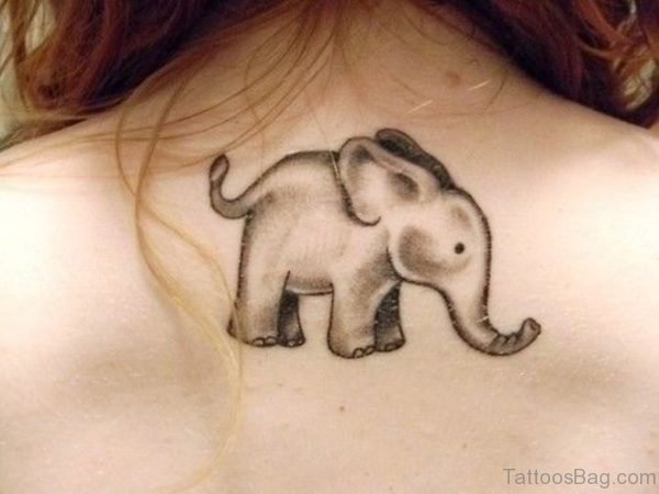 Sweet Small Elephant Tattoo On Back