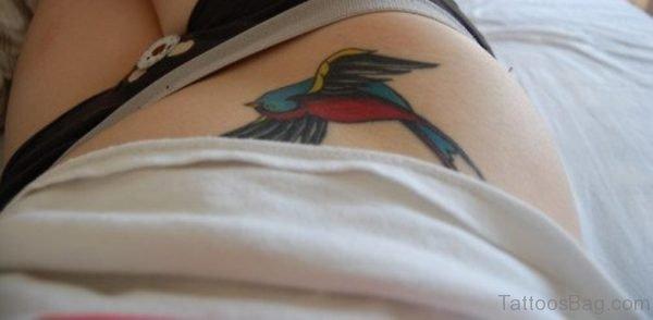 Sweet Swallow Tattoo On Waist