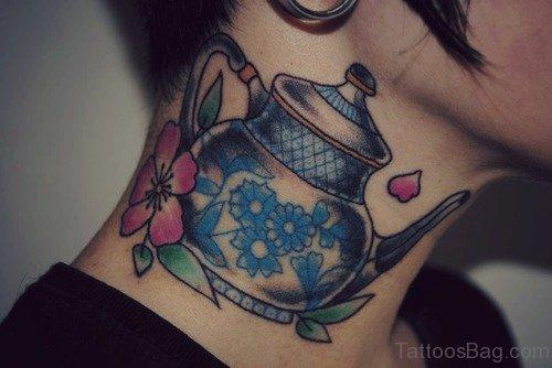 Tea Kettle Tattoo On Neck