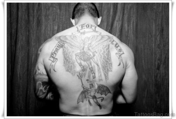 Terrific Archangel Tattoo On Back
