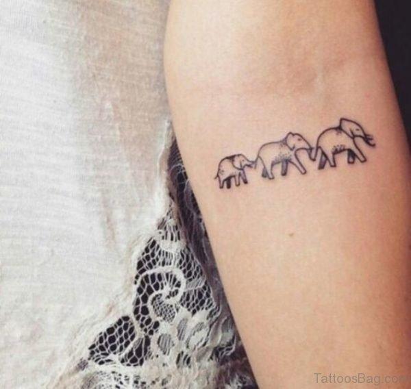 Three Elephant Tattoo On Forearm