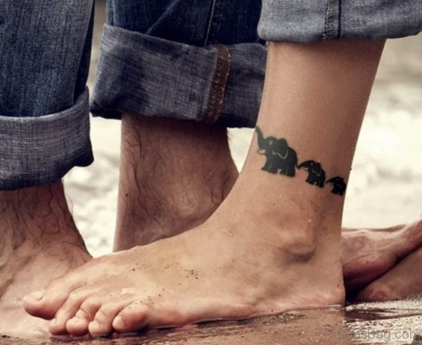 Three Elephant Tattoo On Leg