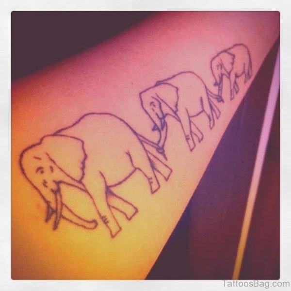 Three Simple Forearm Elephant Tattoo