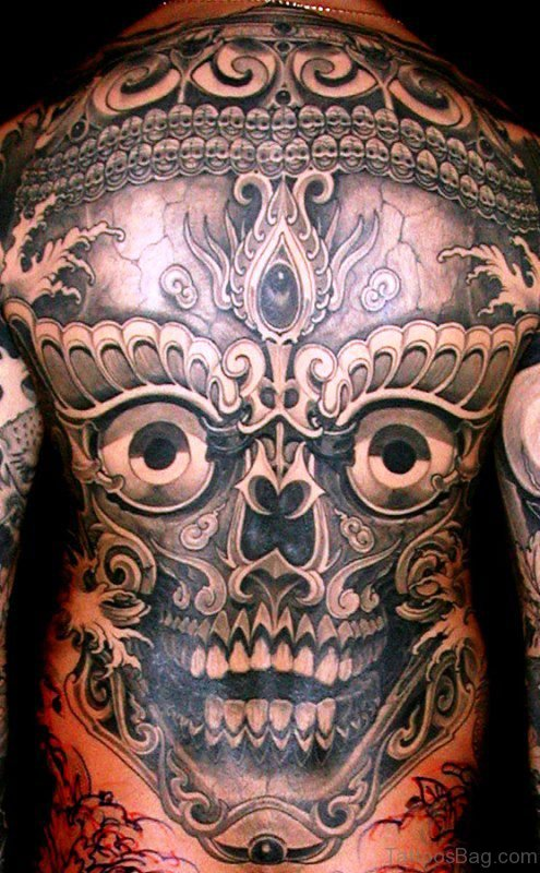 Tibetan Skull Tattoo On Back