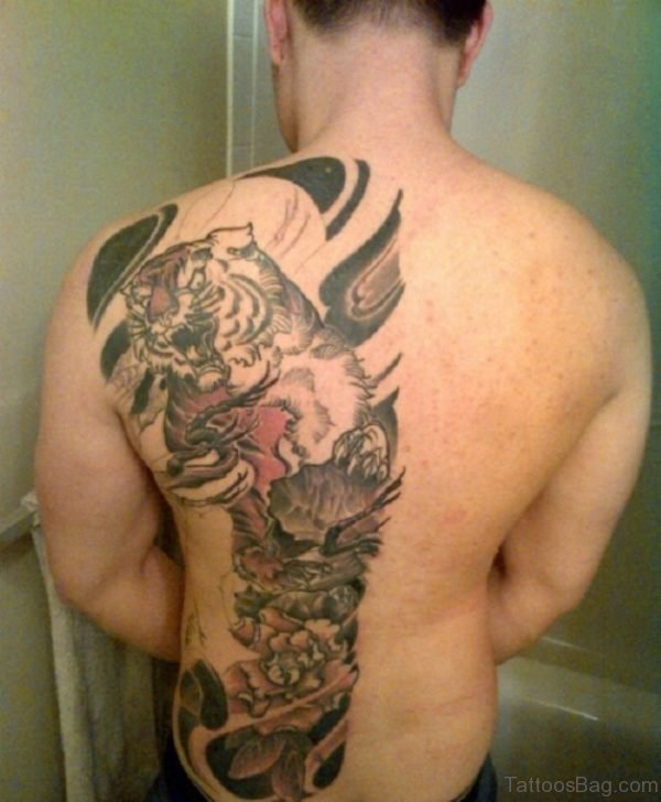 Tiger And Tribal Tattoo On Back